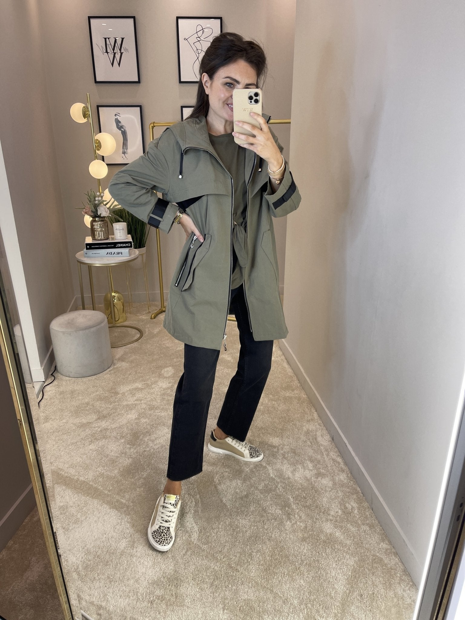 Priya Parka Jacket In Khaki - The Walk in Wardrobe