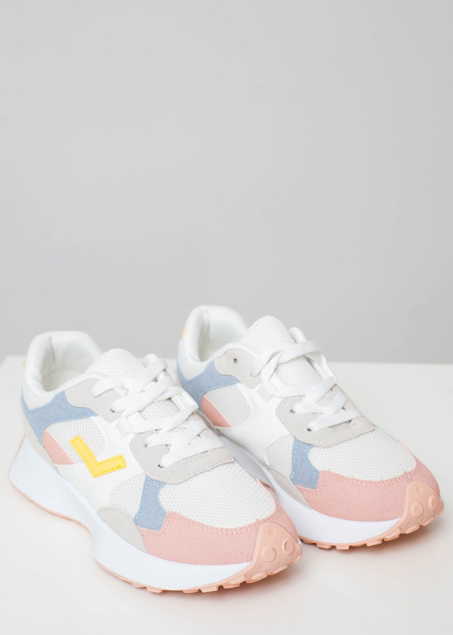 Priya Pastel Mix Trainer In Blush - The Walk in Wardrobe
