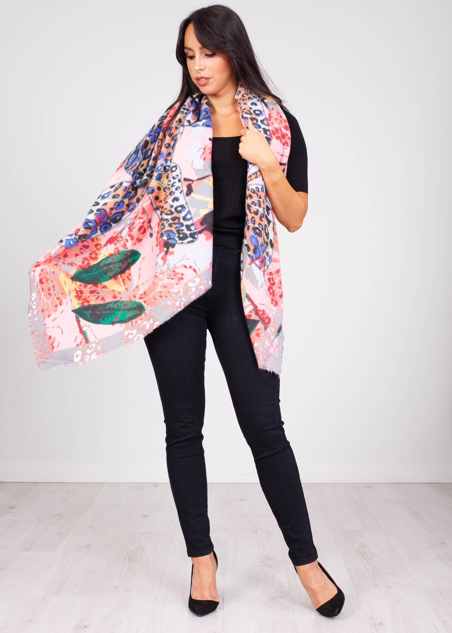 Priya Peach & Grey Multi Print Scarf - The Walk in Wardrobe