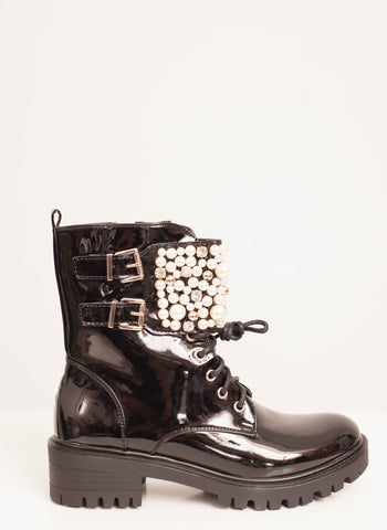 Priya Pearl Biker Boot in Black - The Walk in Wardrobe