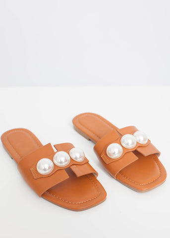 Priya Pearl Sliders In Tan - The Walk in Wardrobe