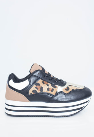 Priya Platform Trainer In Animal Print - The Walk in Wardrobe