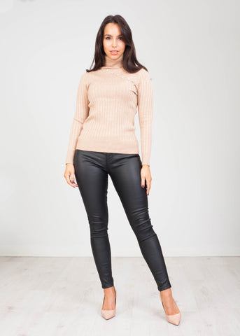 Priya Polo Neck with Buttons in Beige - The Walk in Wardrobe