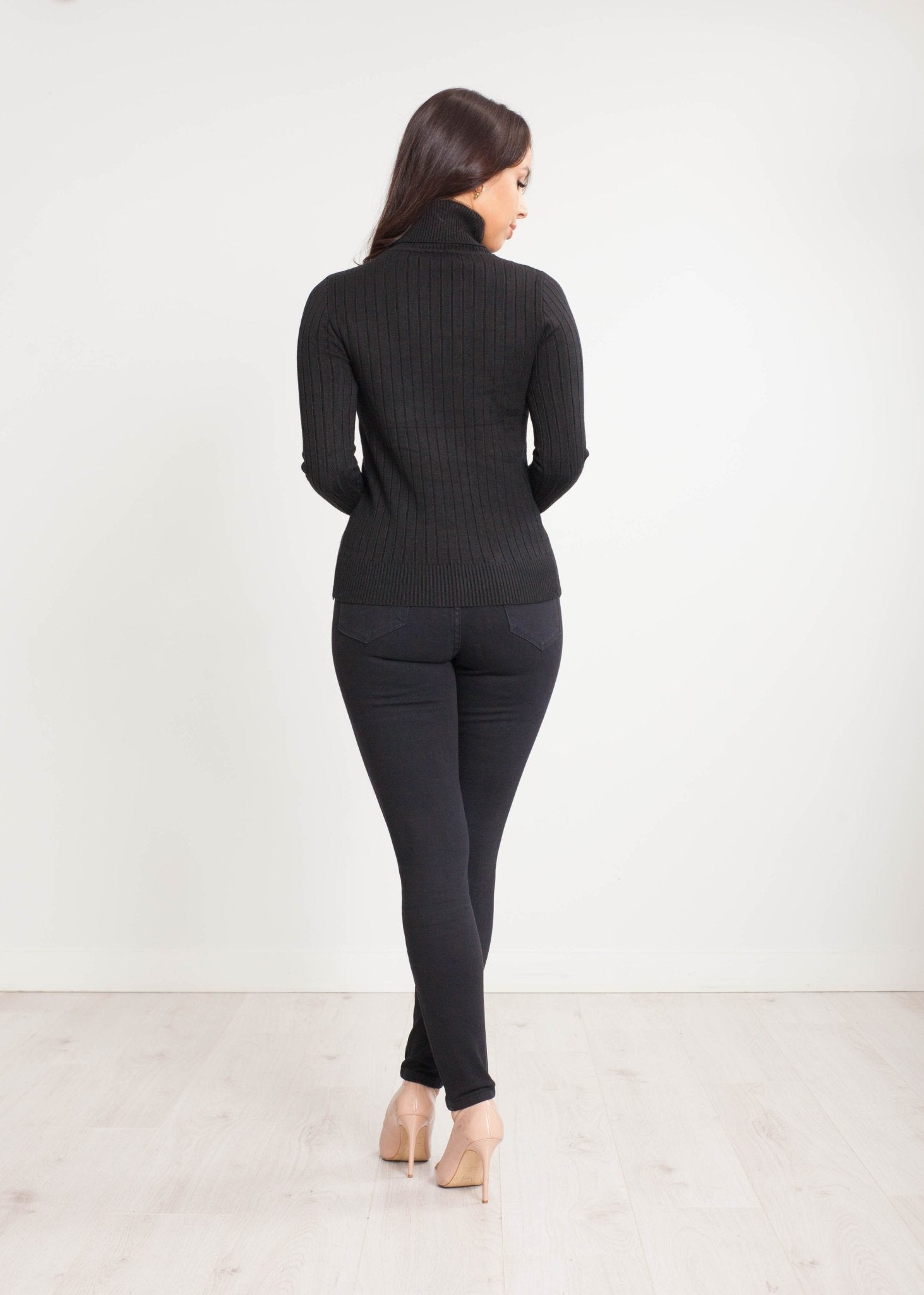 Priya Polo Neck with Buttons in Black - The Walk in Wardrobe