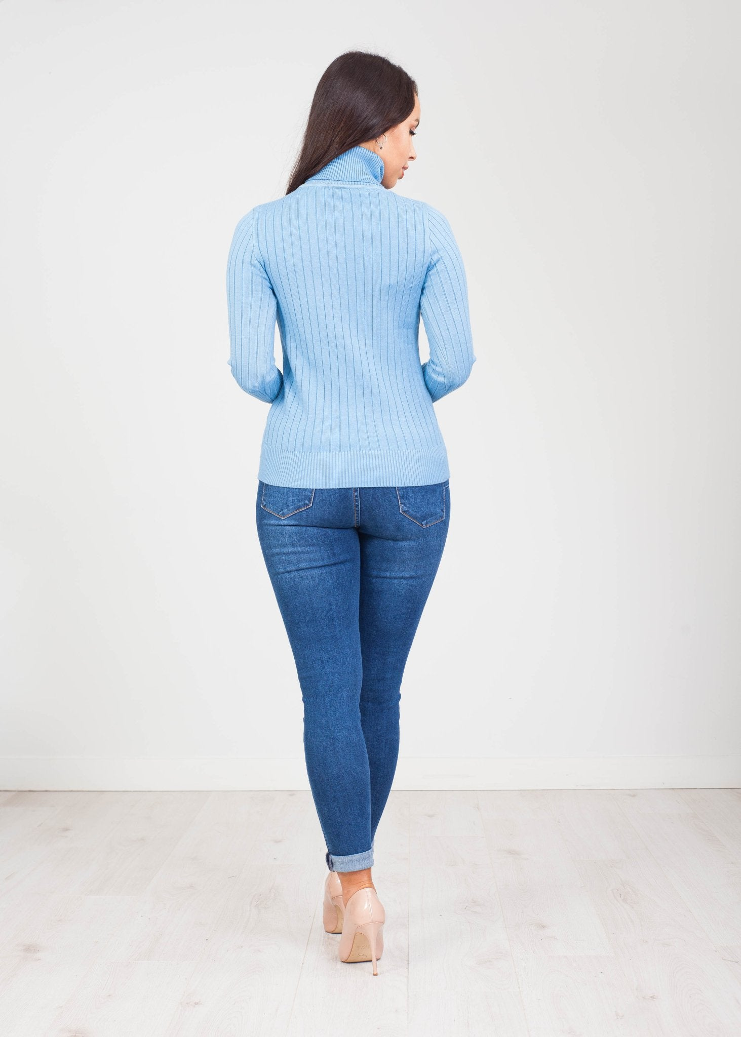 Priya Polo Neck with Buttons in Blue - The Walk in Wardrobe
