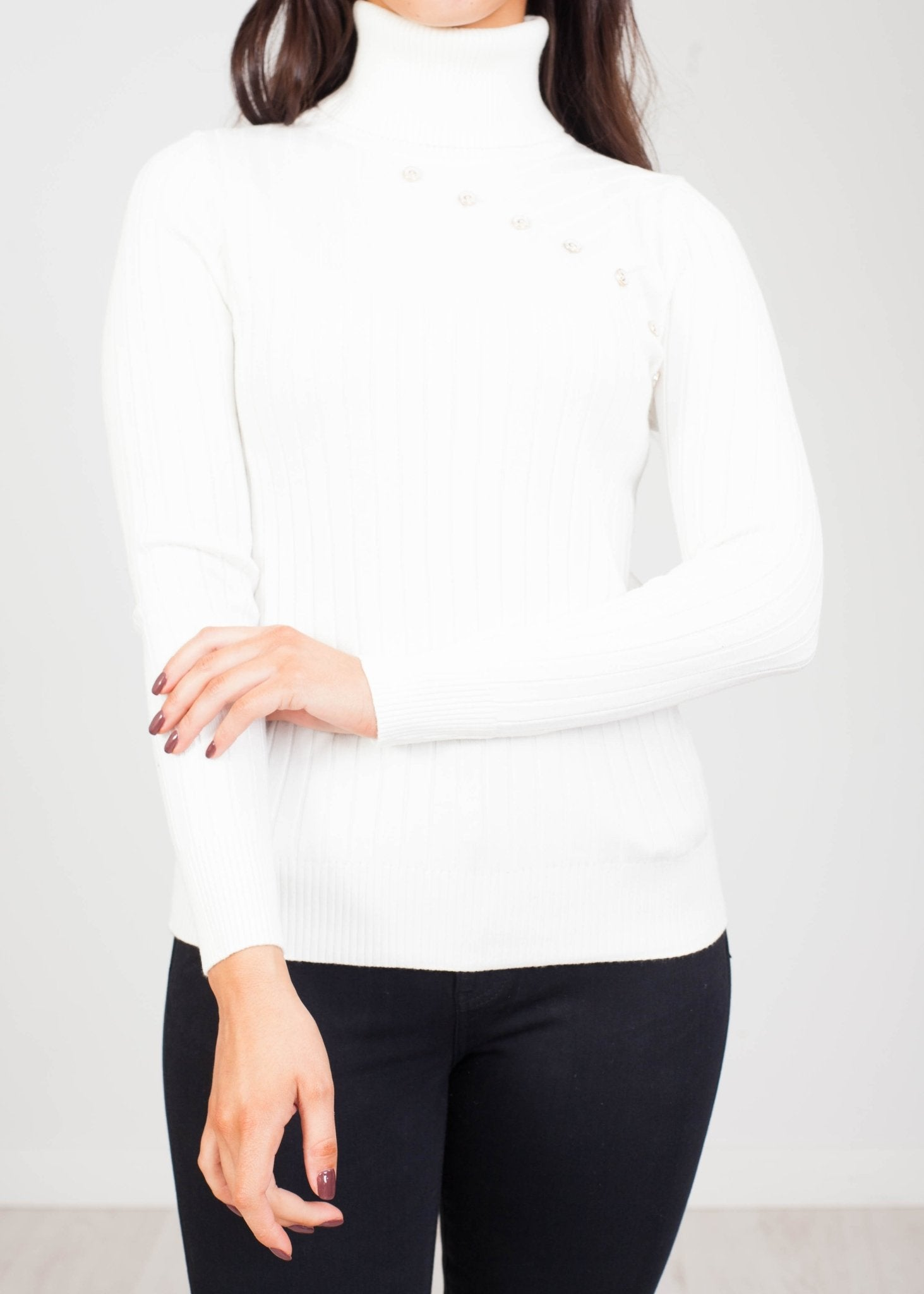 Priya Polo Neck with Buttons in Cream - The Walk in Wardrobe
