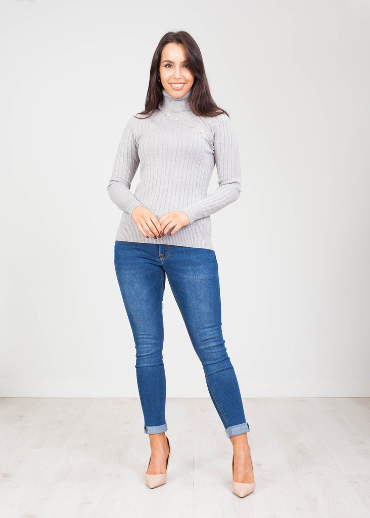 Priya Polo Neck with Buttons in Grey - The Walk in Wardrobe