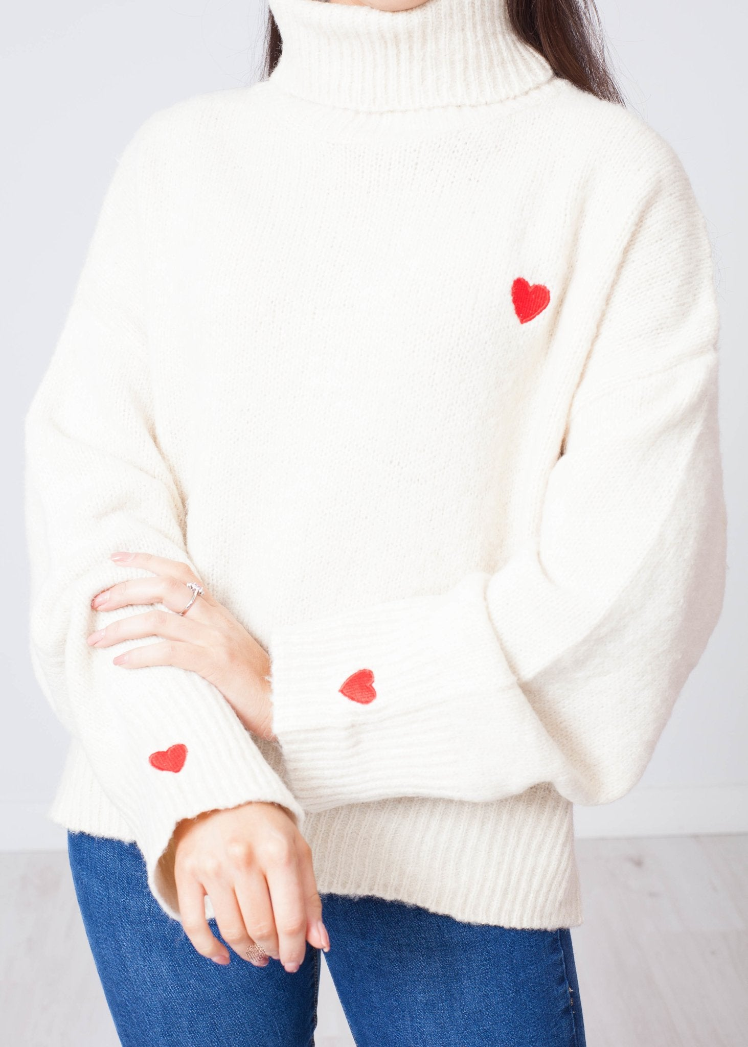 Priya Polo Neck With Heart In Cream - The Walk in Wardrobe