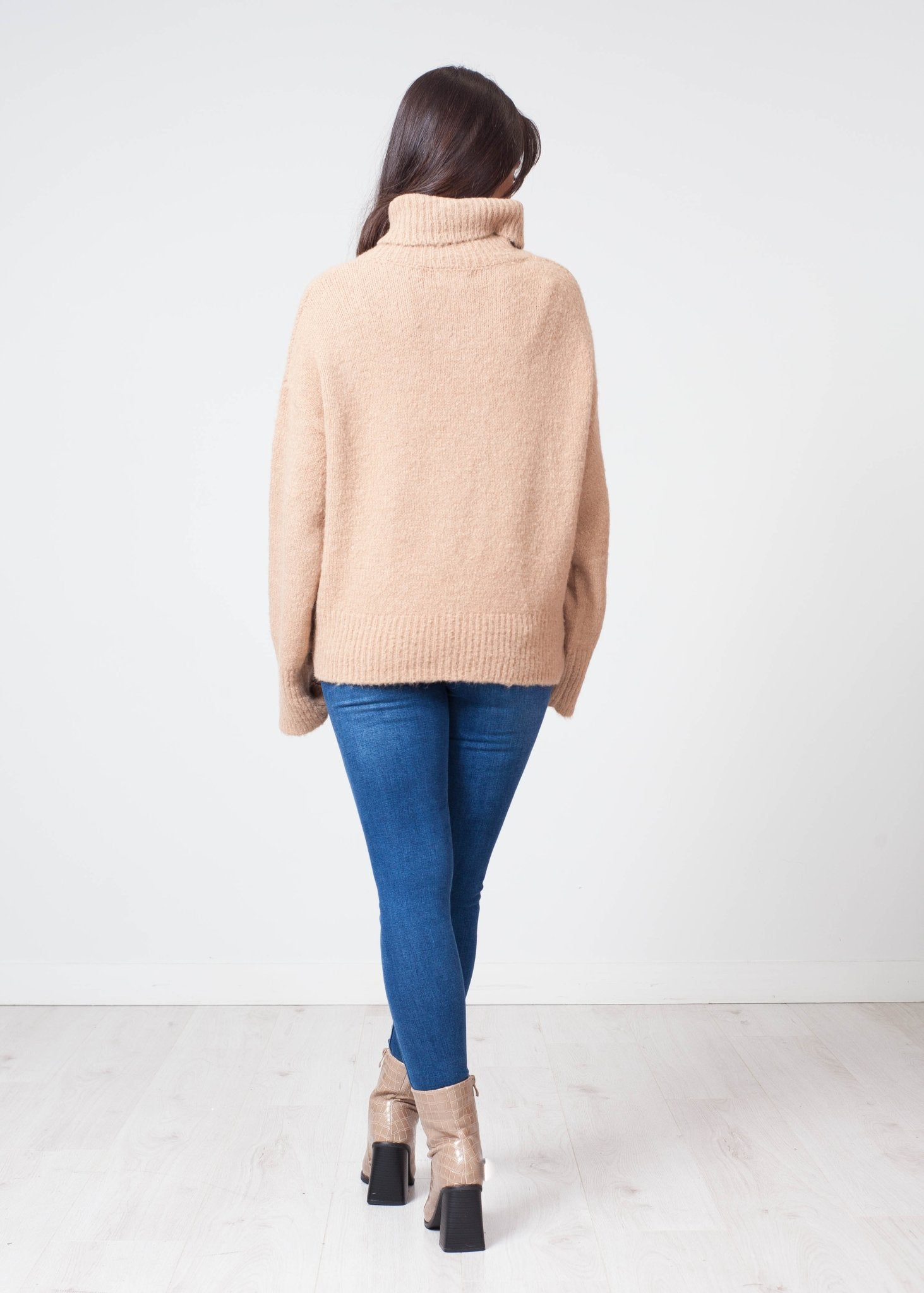 Priya Polo Neck With Heart In Tan - The Walk in Wardrobe