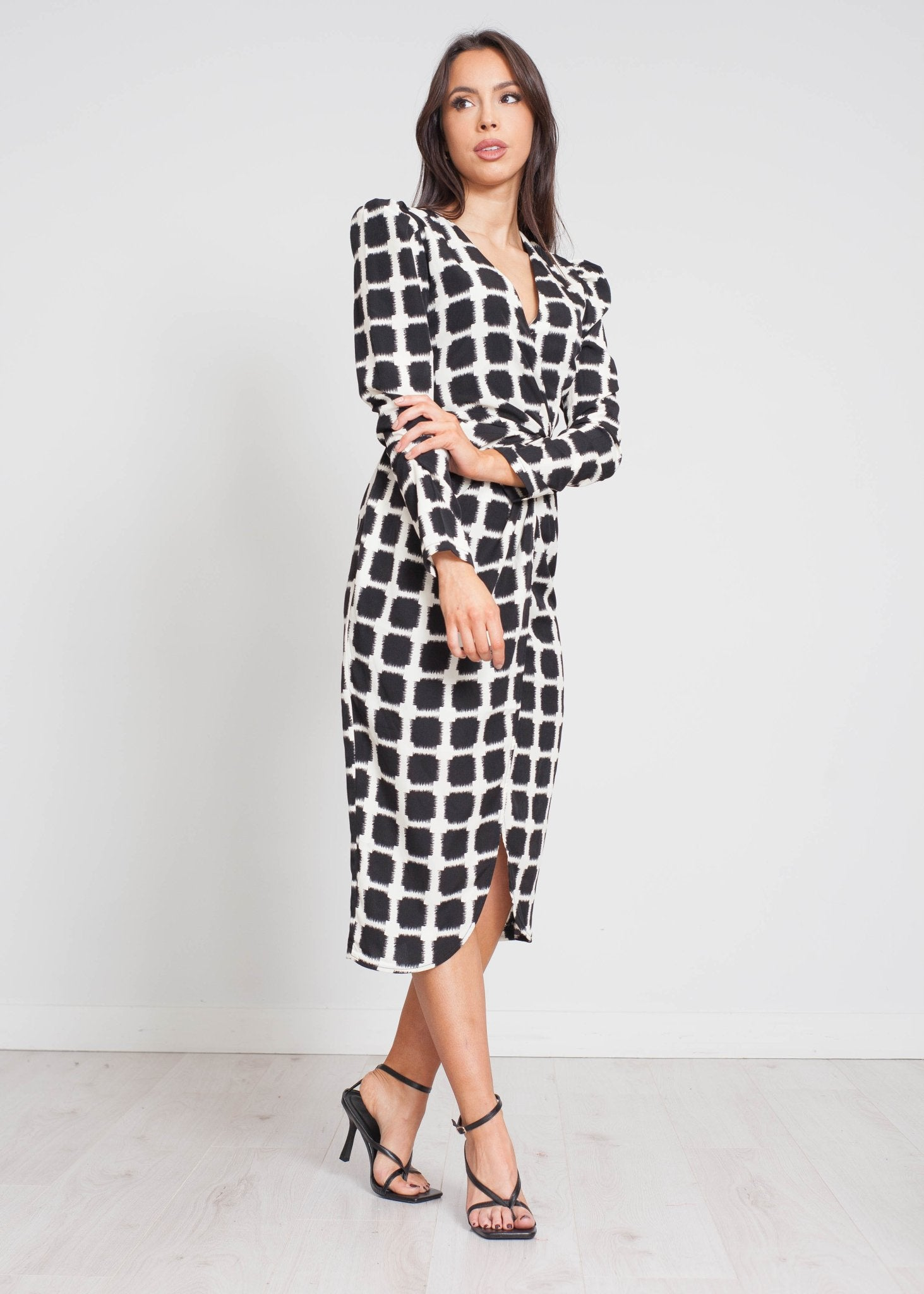 Priya Printed Wrap Dress In Black&Cream - The Walk in Wardrobe