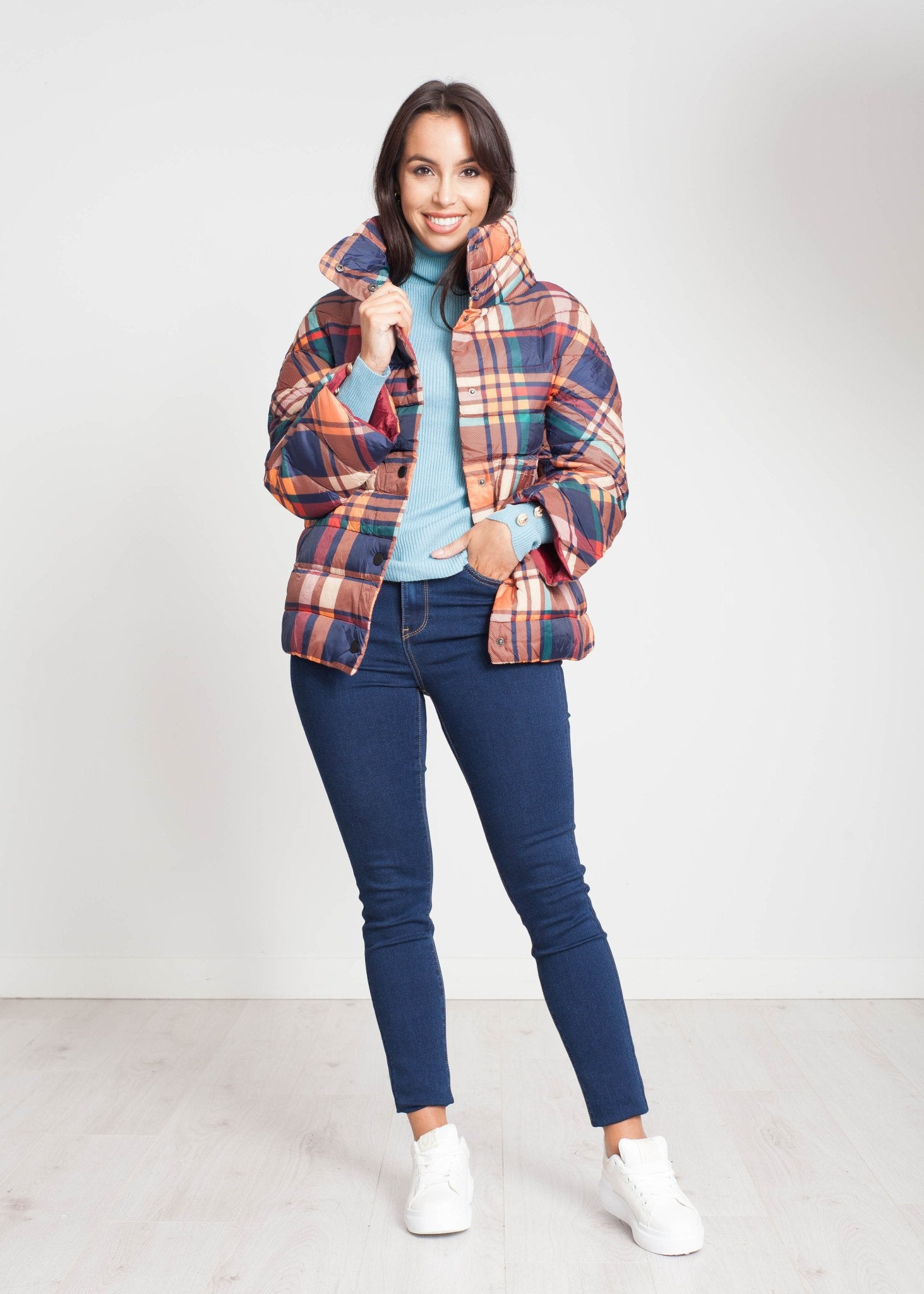 Priya Quilted Coat In Multi Check - The Walk in Wardrobe