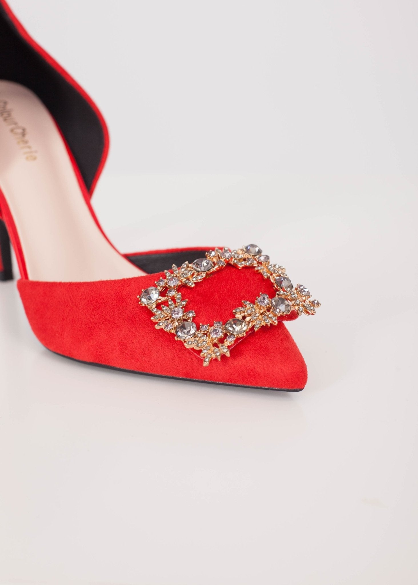 Priya Red Buckle Heel - The Walk in Wardrobe