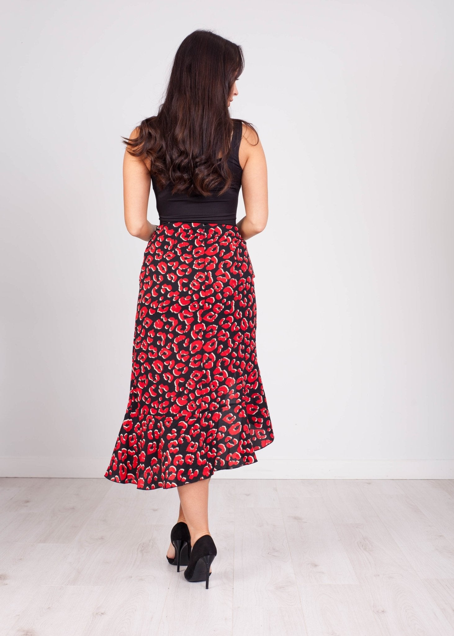 Priya Red Leopard Print Ruffle Skirt - The Walk in Wardrobe