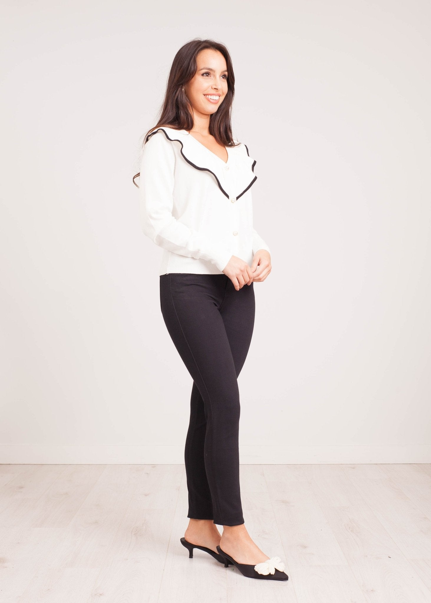Priya Ruffle Cardigan in White - The Walk in Wardrobe