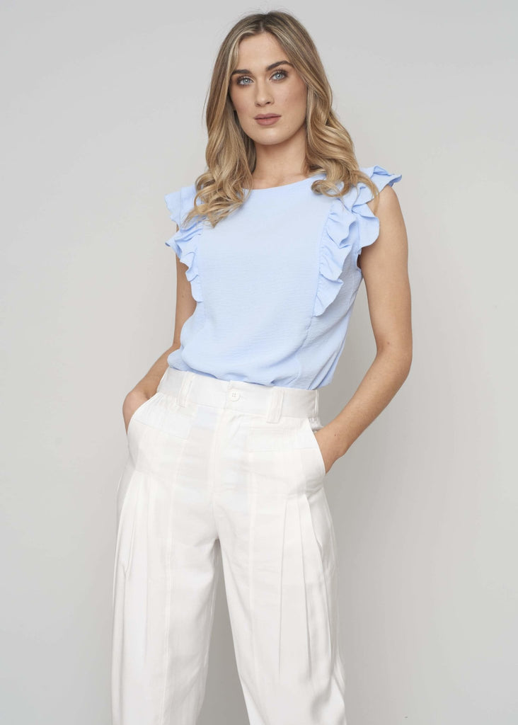 Priya Ruffle Front Top In Blue - The Walk in Wardrobe