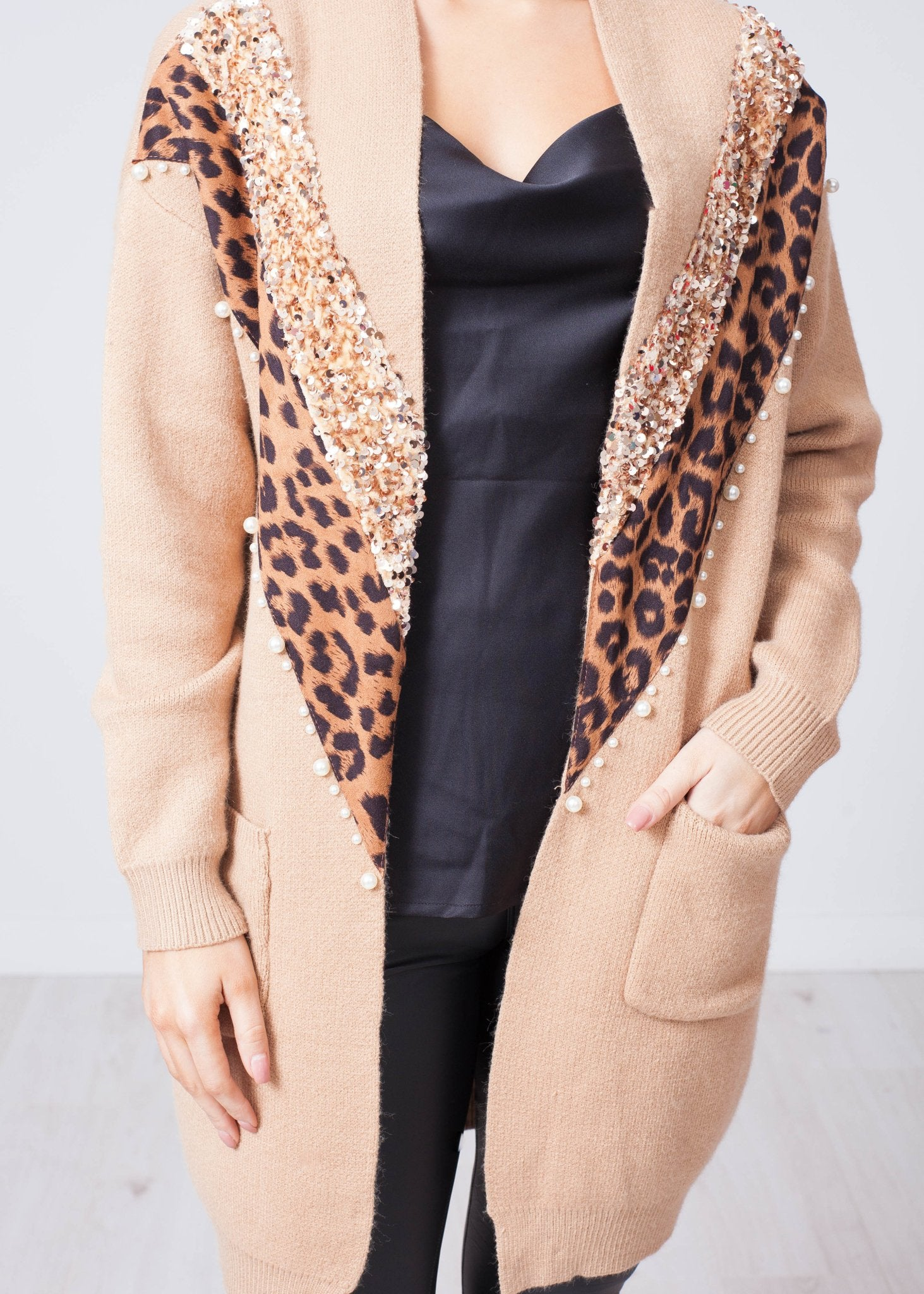 Priya Sequin And Pearl Cardigan In Tan - The Walk in Wardrobe