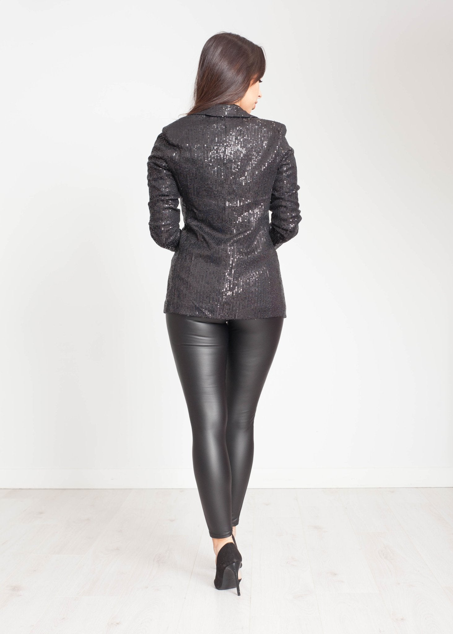 Priya Sequin Jacket In Black - The Walk in Wardrobe