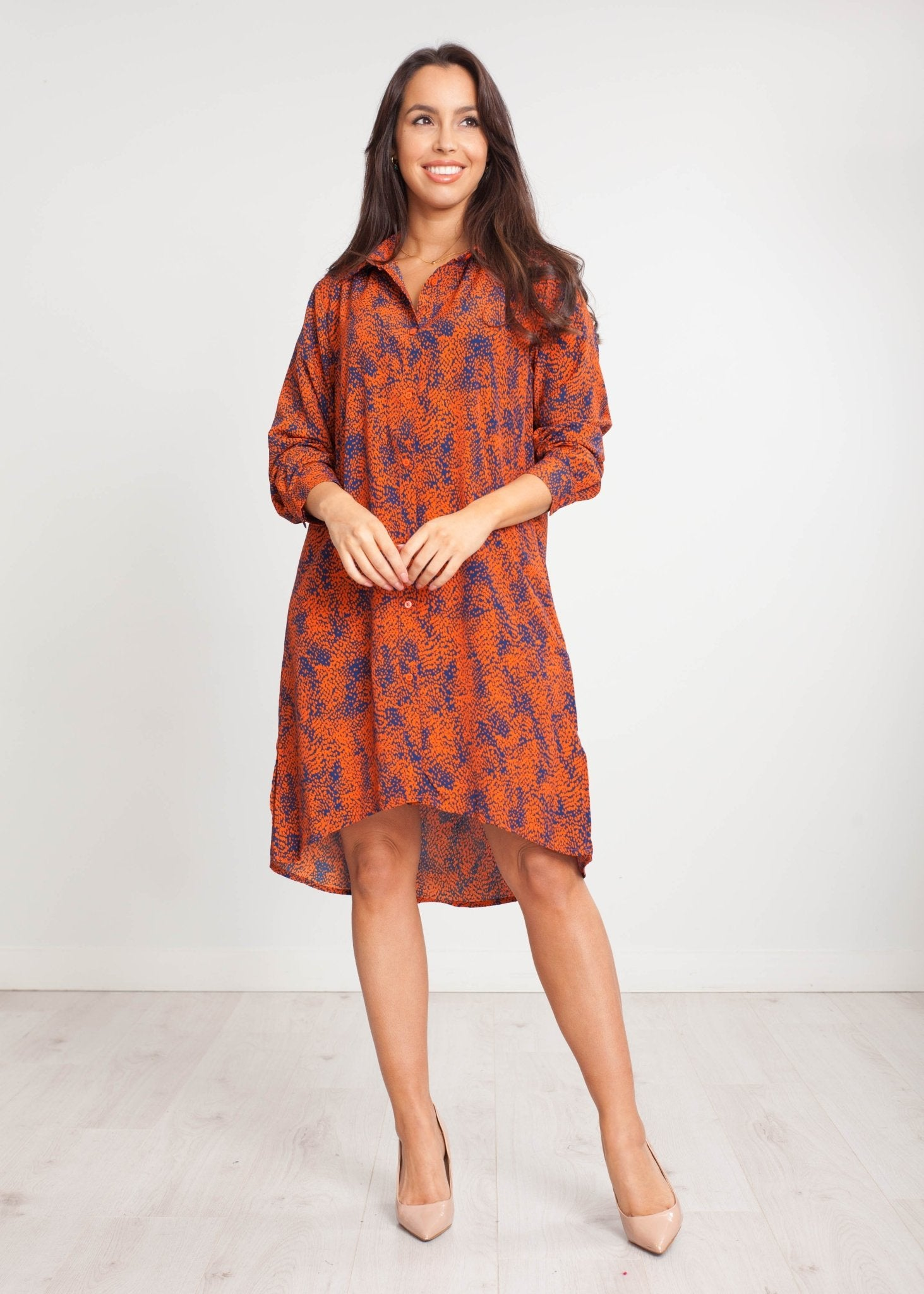 Priya Shirt Dress In Rust And Navy - The Walk in Wardrobe