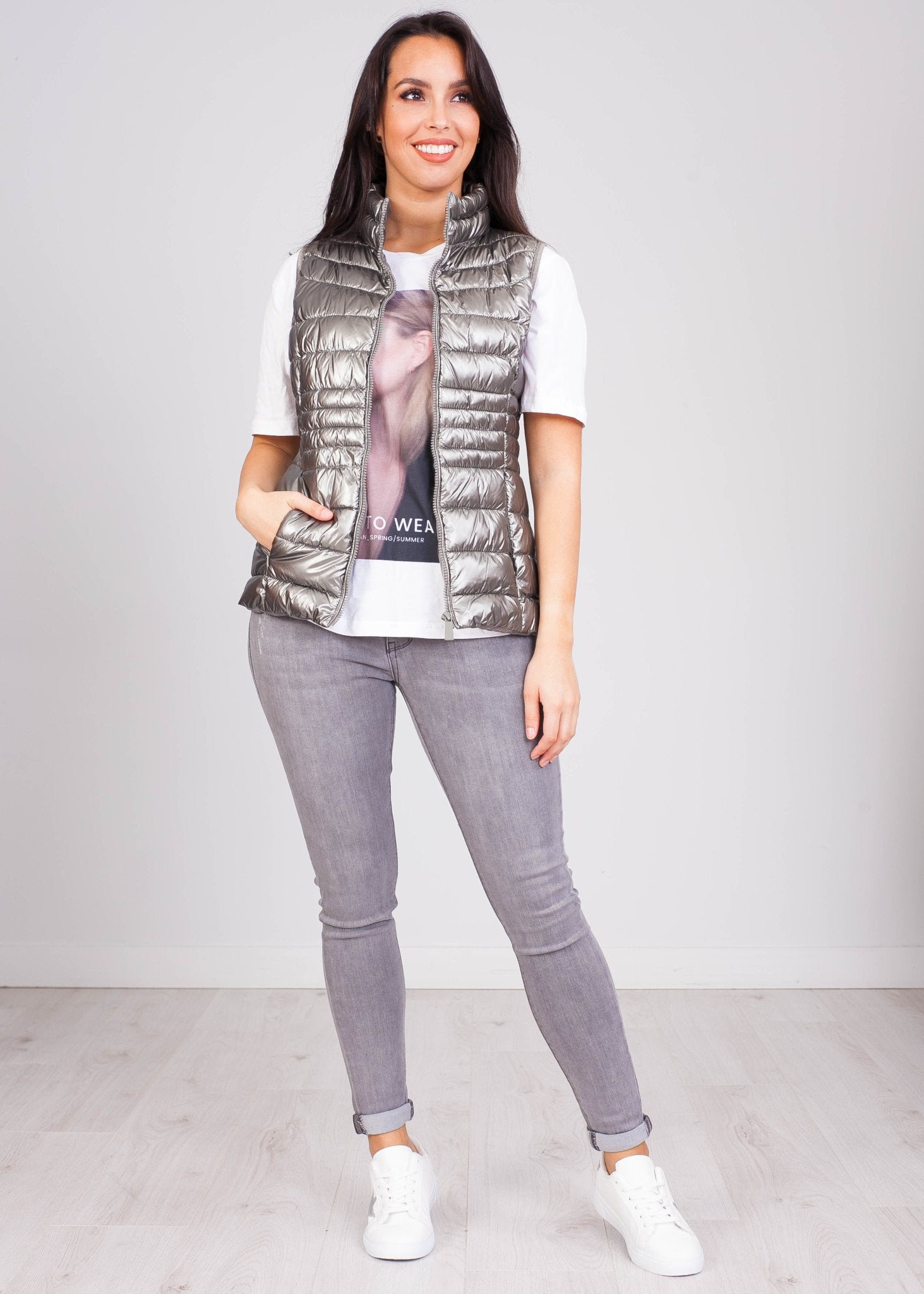 Priya Silver Shimmer Gilet - The Walk in Wardrobe