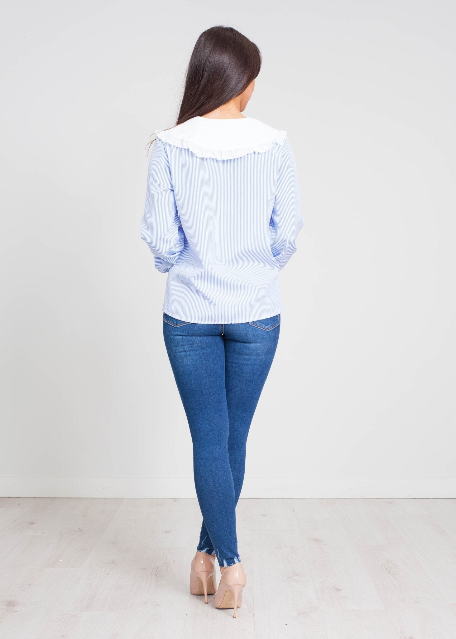 Priya Stripe Blouse In Blue Mix - The Walk in Wardrobe