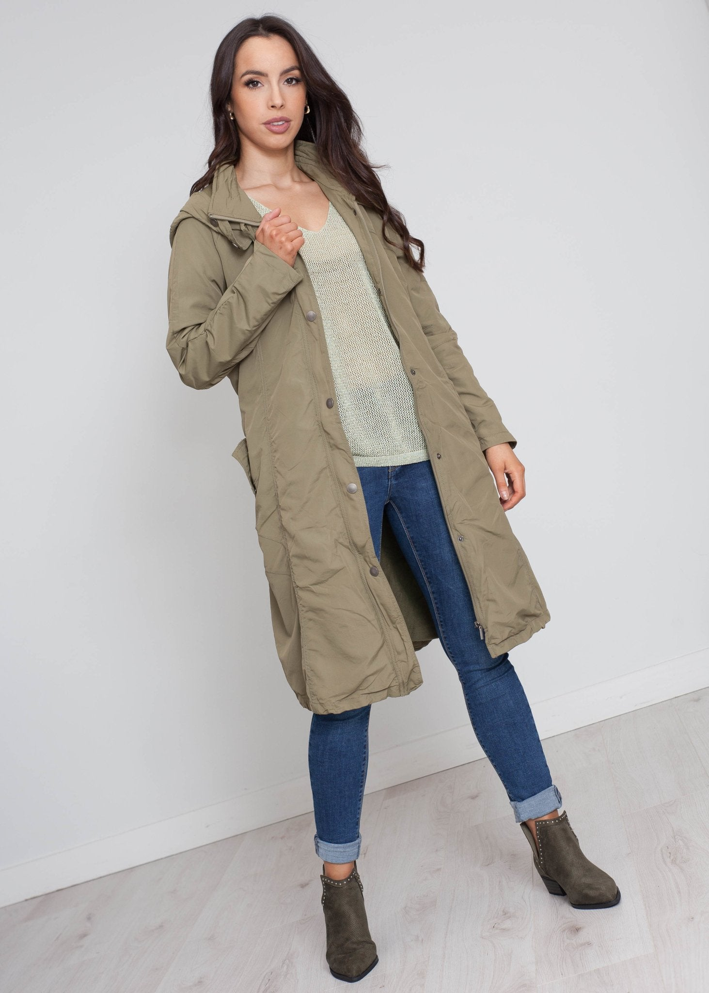 Priya Swing Style Raincoat In Khaki - The Walk in Wardrobe