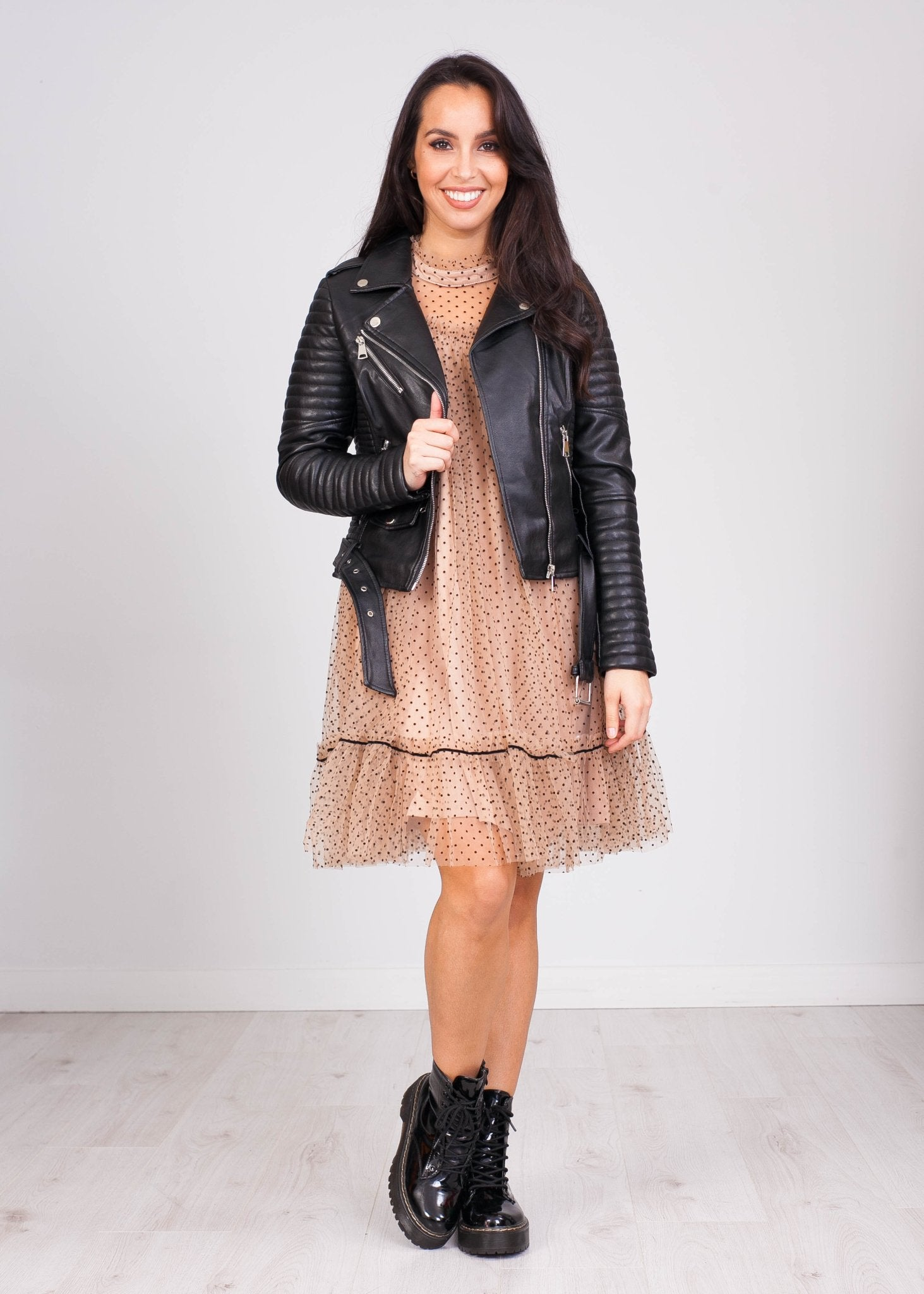Priya Tan & Black Polka Dot Mini Dress - The Walk in Wardrobe