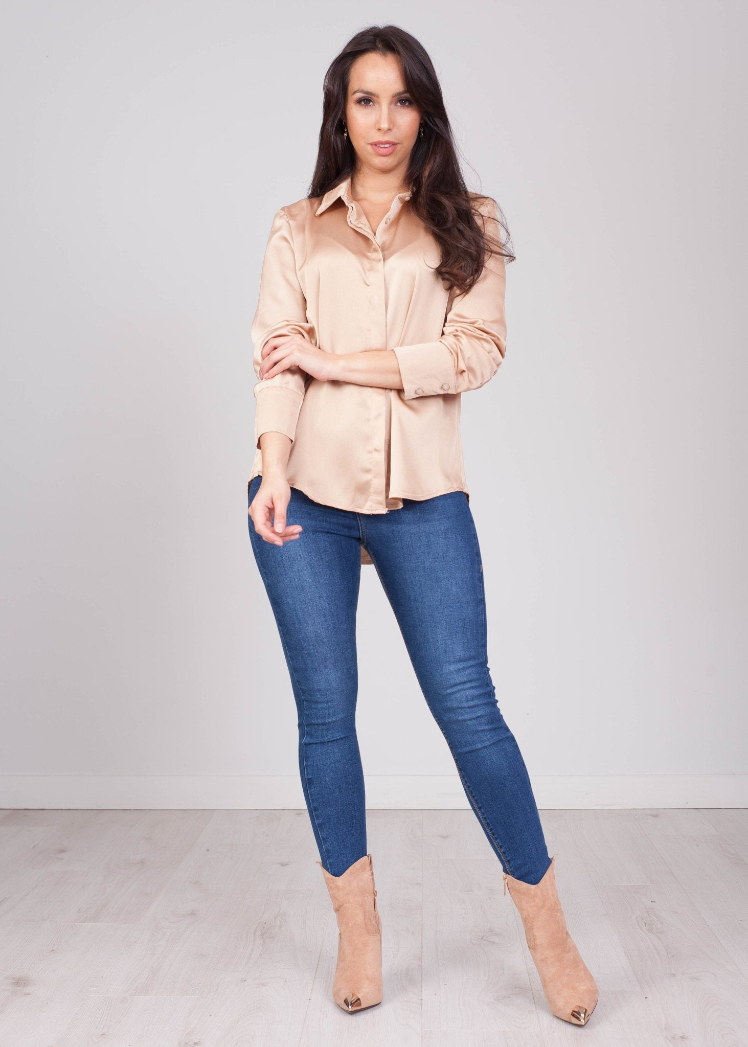 Priya Tan Silk Shirt - The Walk in Wardrobe