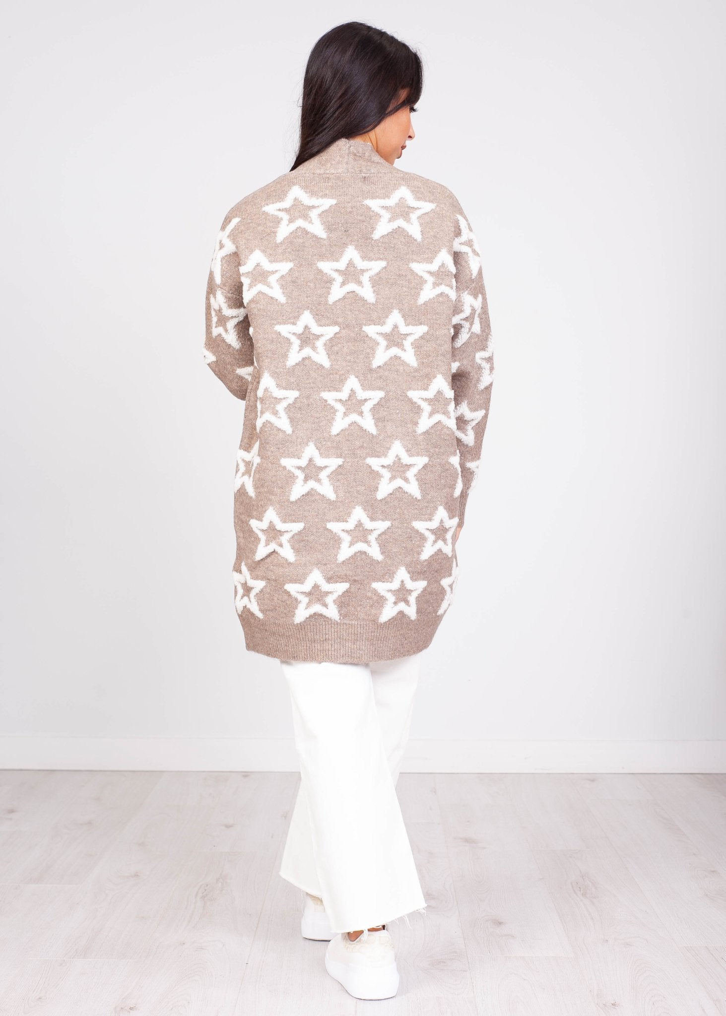 Priya Taupe Star Cardigan - The Walk in Wardrobe