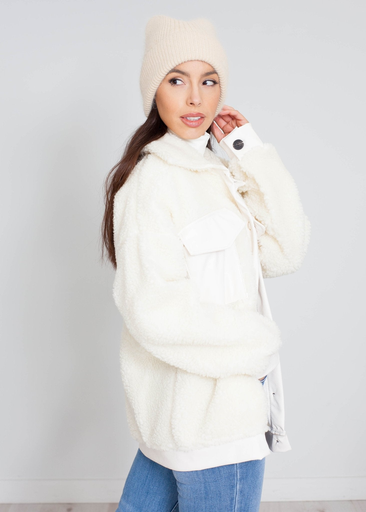 Priya Teddy Shacket In Cream - The Walk in Wardrobe