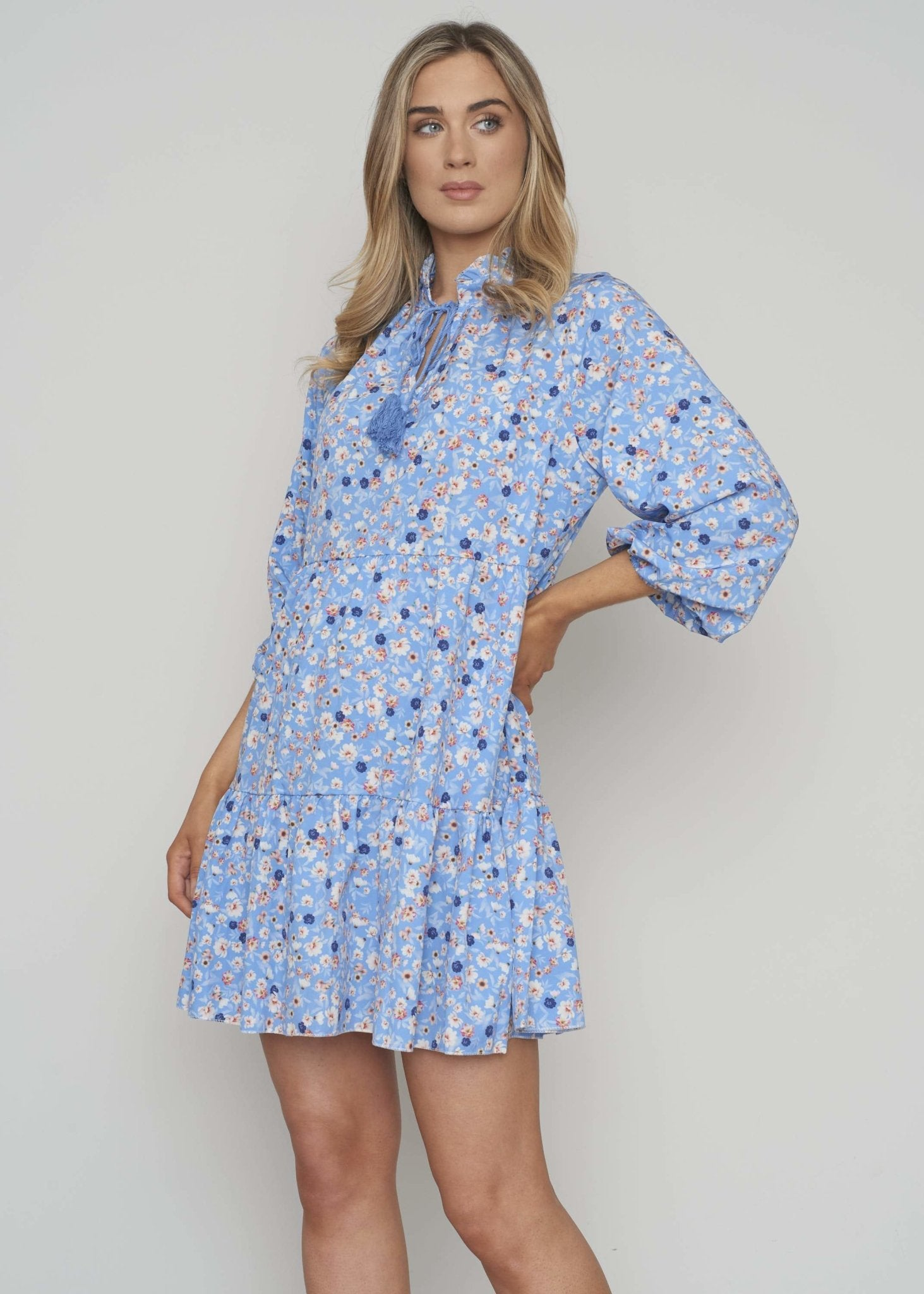 Priya Tiered Dress In Blue Floral - The Walk in Wardrobe