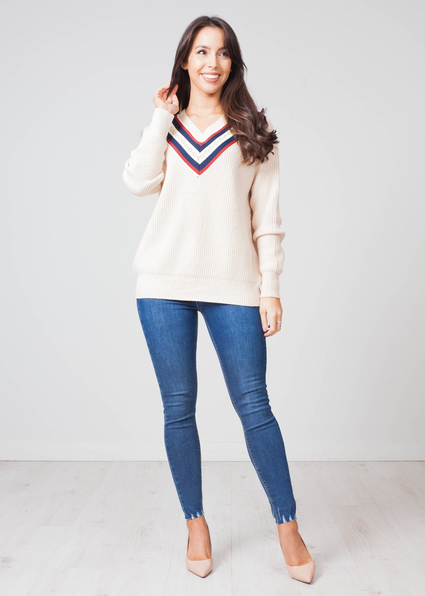 Priya V-Neck Jumper In Beige - The Walk in Wardrobe
