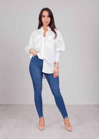 Priya White Oversized Shirt - The Walk in Wardrobe