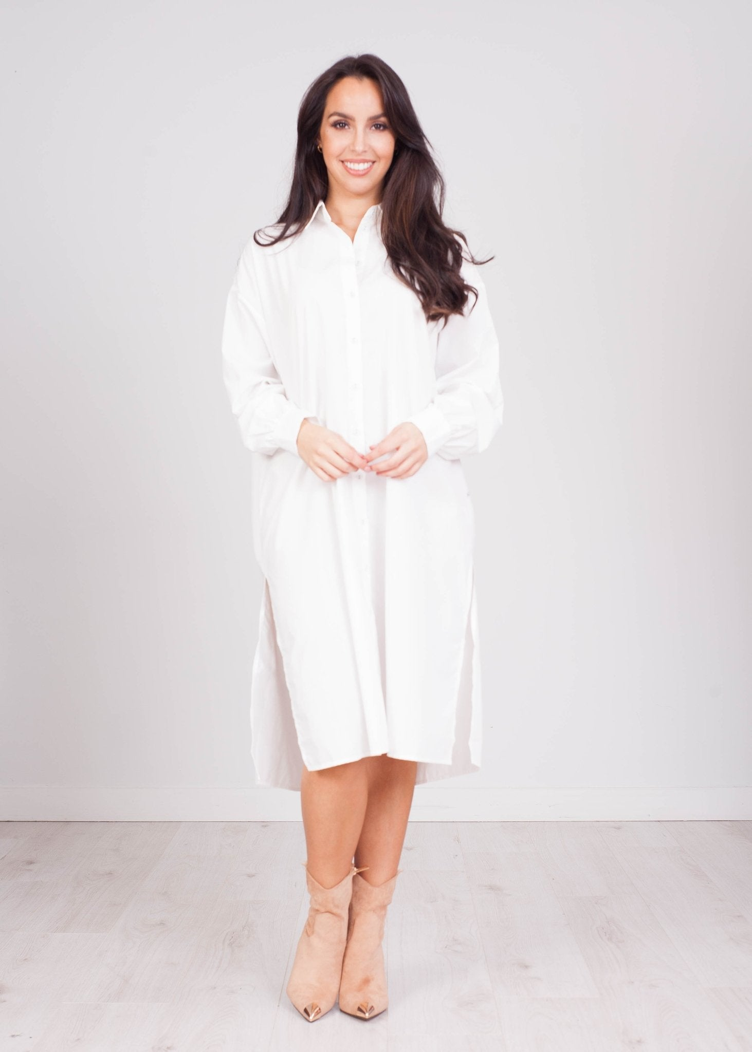 Priya White Oversized Shirt Dress - The Walk in Wardrobe