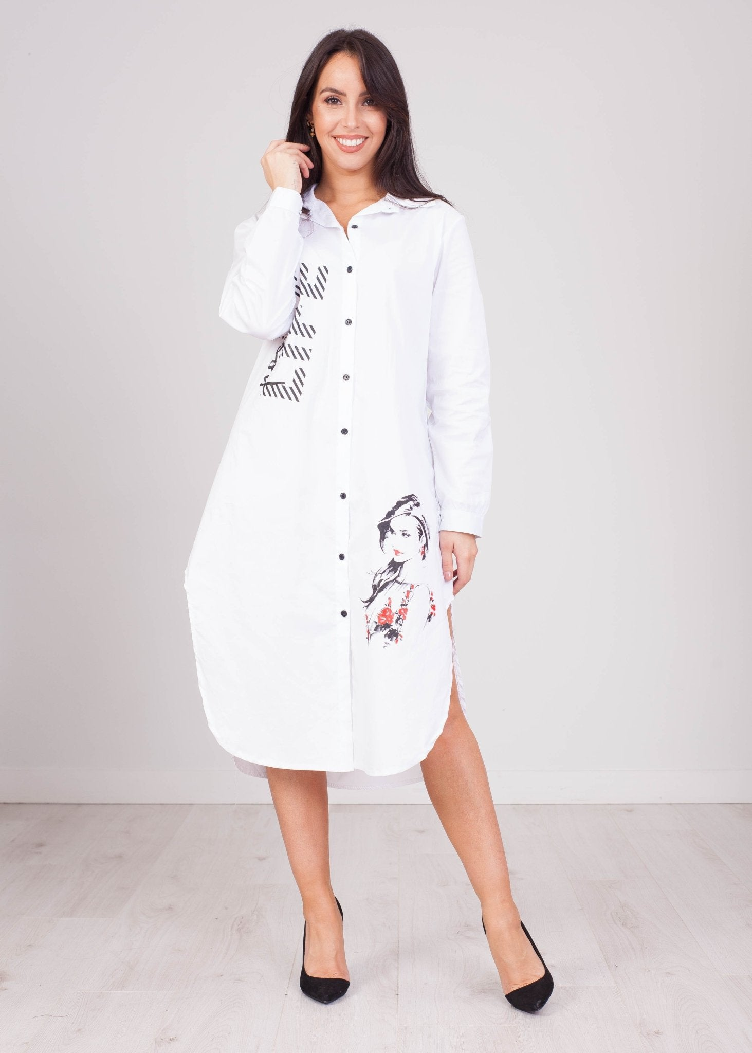 Priya White Shirt Dress With Lady - The Walk in Wardrobe