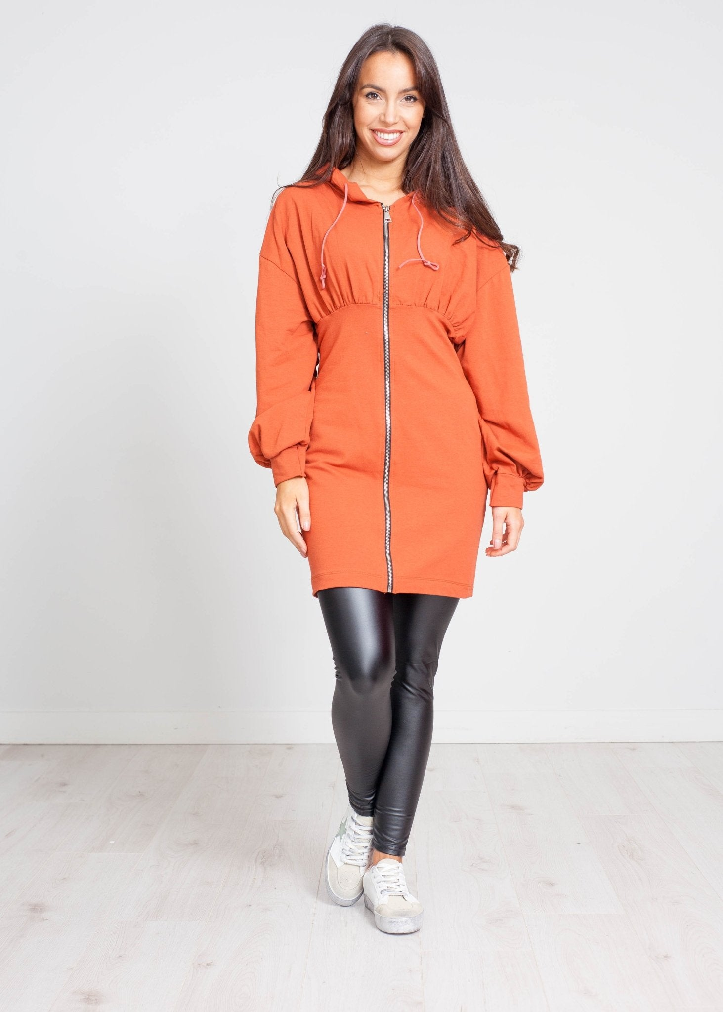Priya Zip Hoodie Dress In Orange - The Walk in Wardrobe
