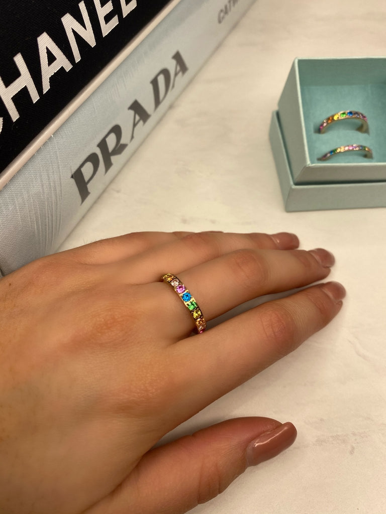 Qudo - Rose Gold Rainbow Big Eternity Ring - The Walk in Wardrobe