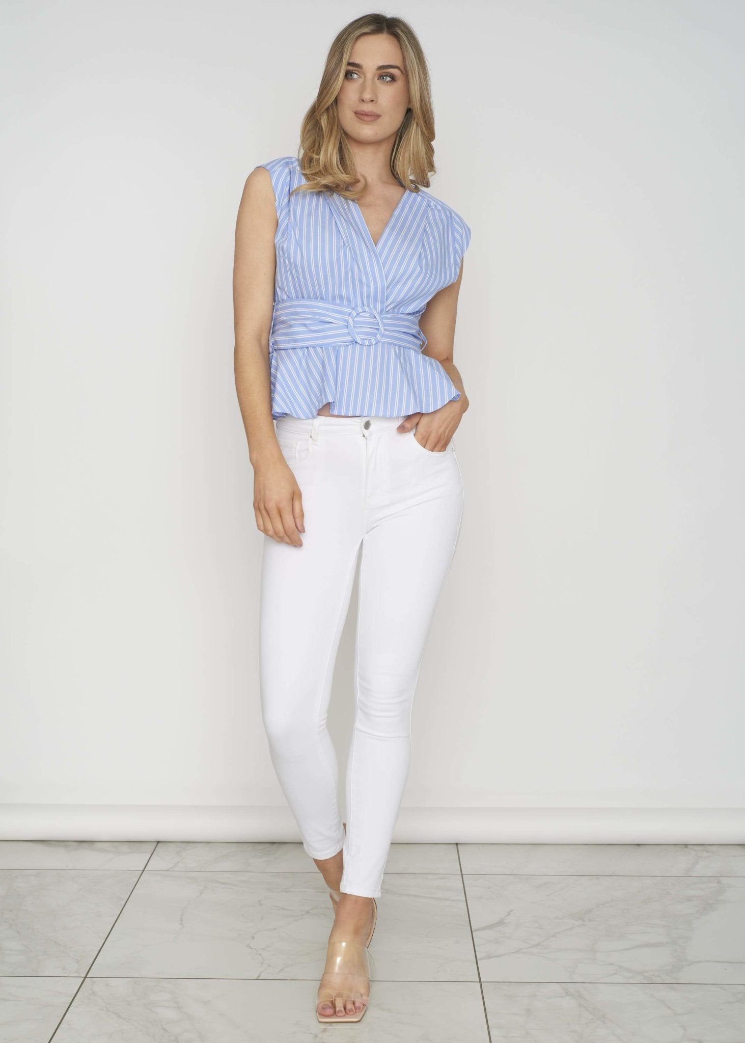 Quinn Belted Peplum Top In Blue - The Walk in Wardrobe
