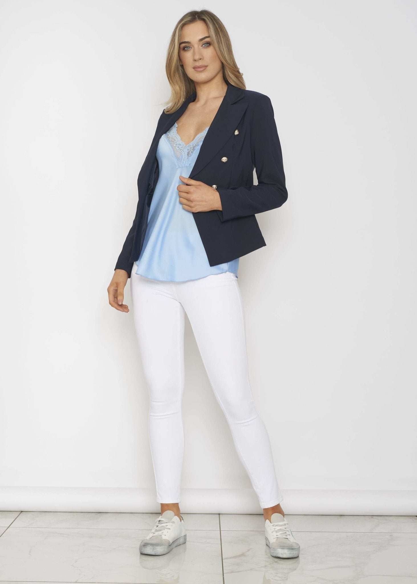 Quinn Blazer In Navy - The Walk in Wardrobe
