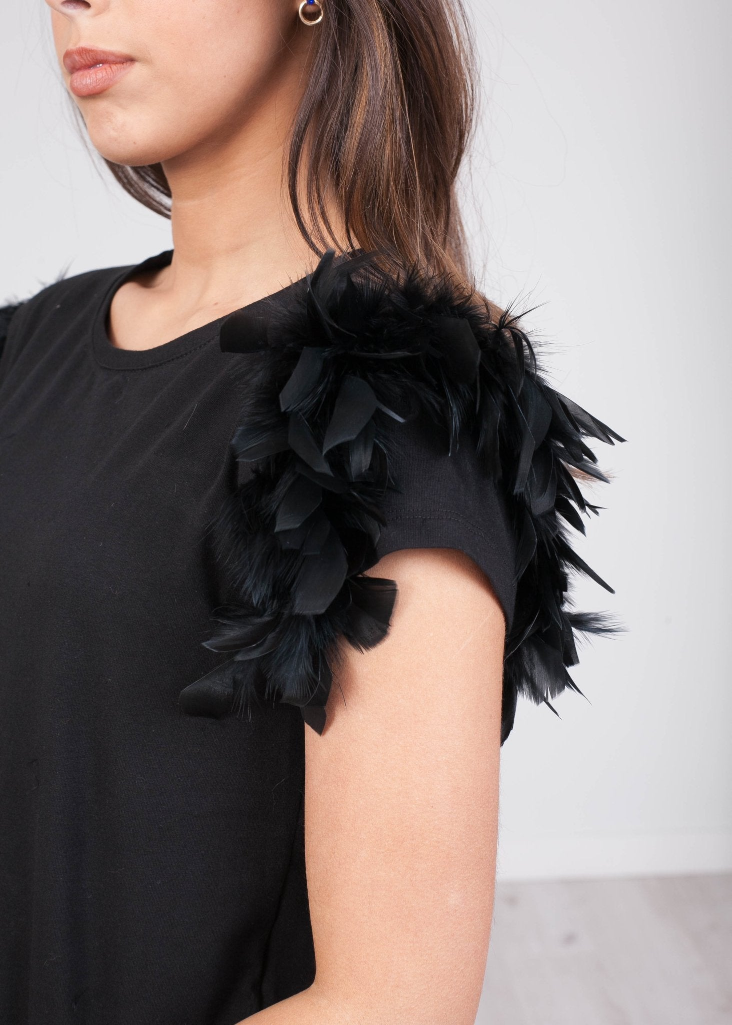 Rita Black Faux Feather Tee - The Walk in Wardrobe