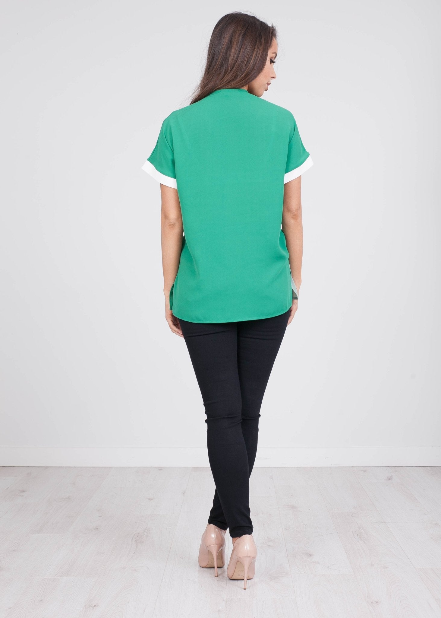 Rita Green Contrasting Top - The Walk in Wardrobe