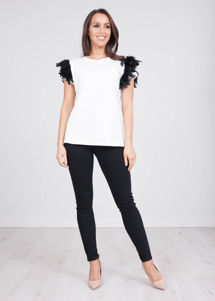 Rita White Faux Feather Tee - The Walk in Wardrobe