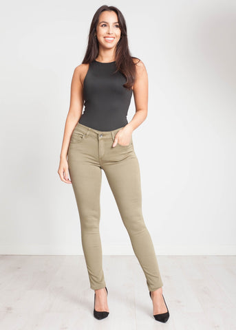 Robyn Bum Lift Jean In Khaki - The Walk in Wardrobe