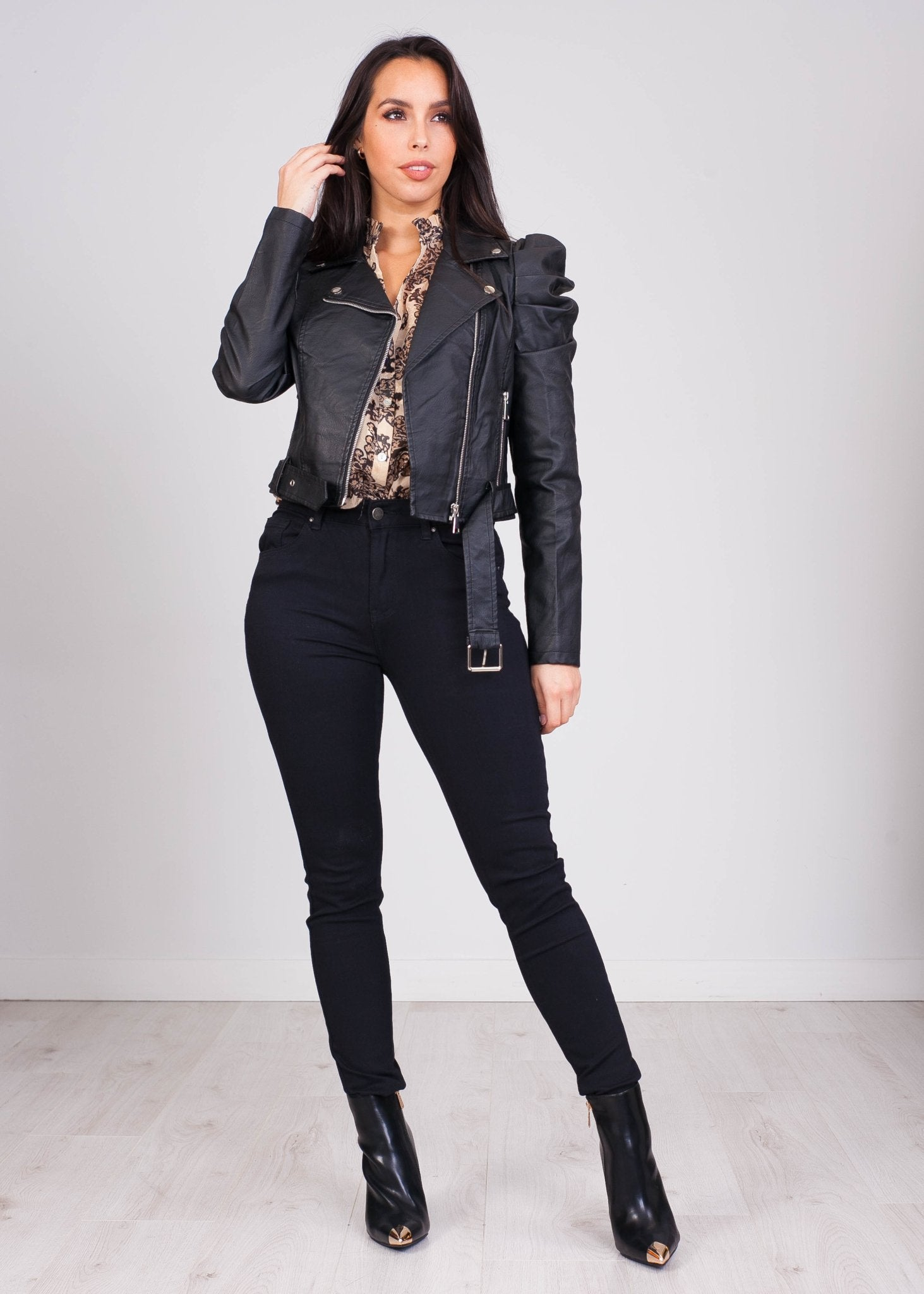 Rose Black Leather Jacket Shoulder Detail - The Walk in Wardrobe