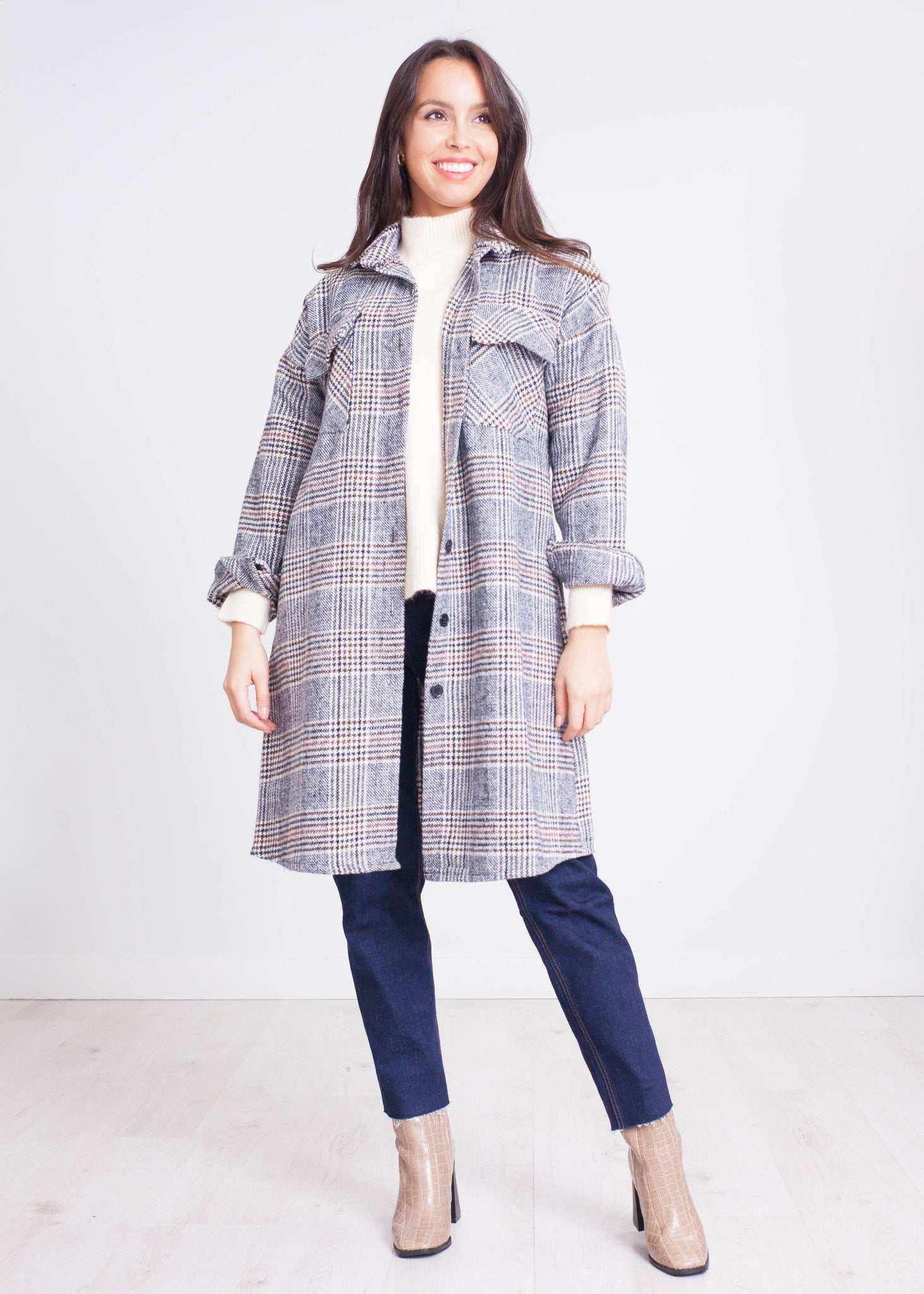Rose Longline Shacket in Grey Check - The Walk in Wardrobe
