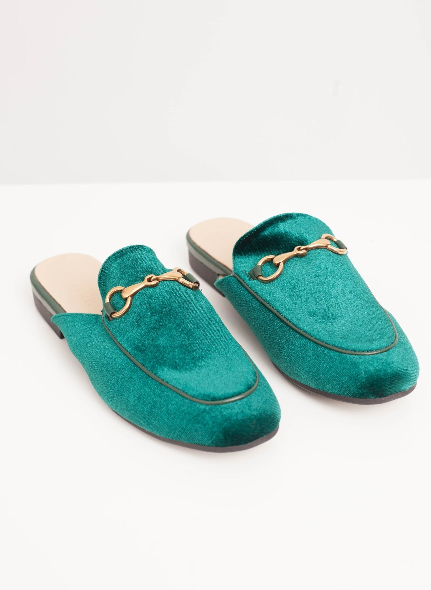 Rosie Mules In Green Velvet - The Walk in Wardrobe