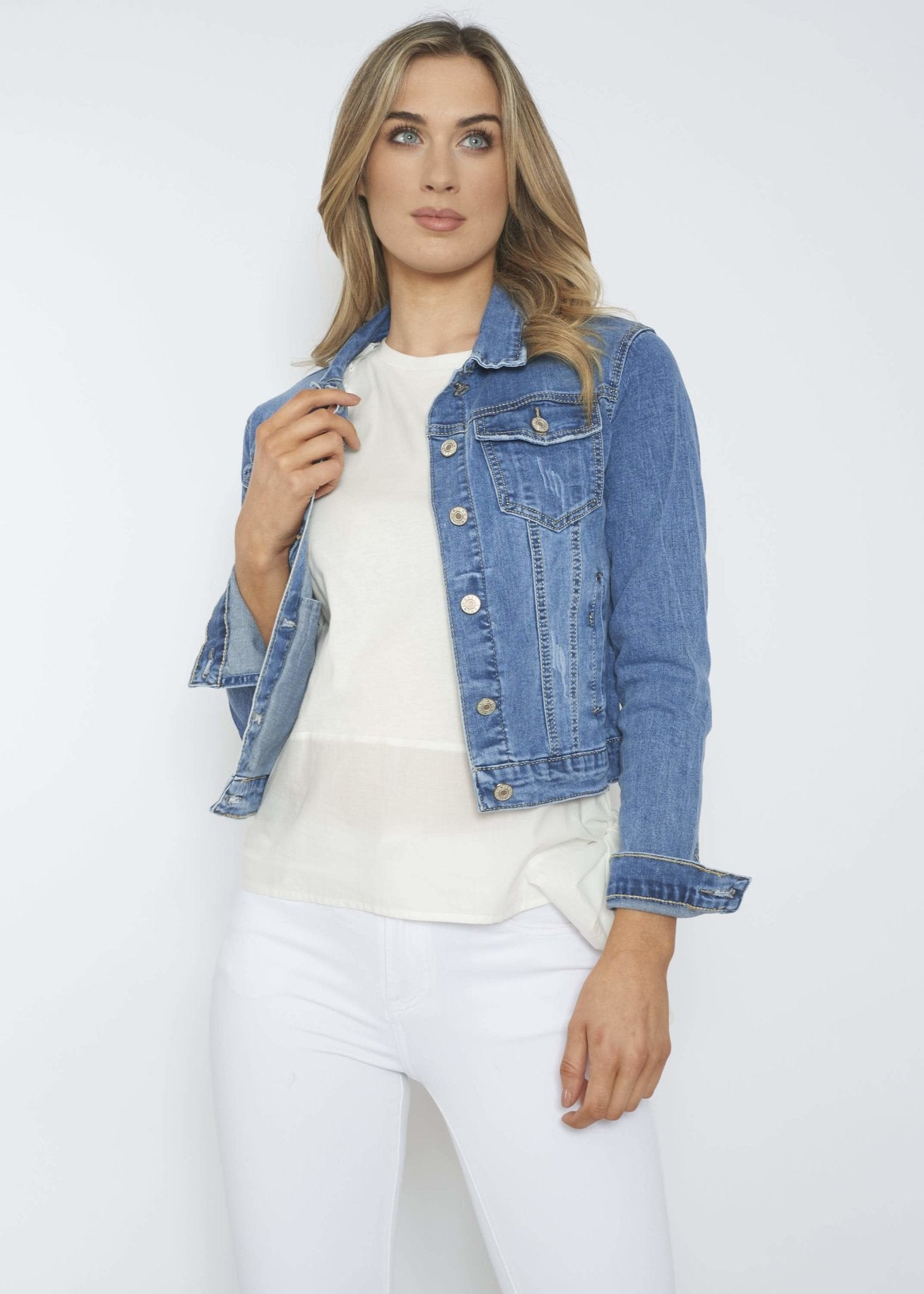 Samantha Denim Jacket In Light Wash - The Walk in Wardrobe