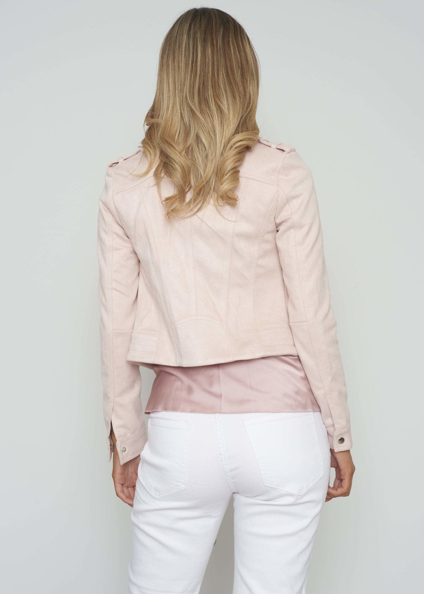 Samantha Faux Suede Jacket In Pink - The Walk in Wardrobe