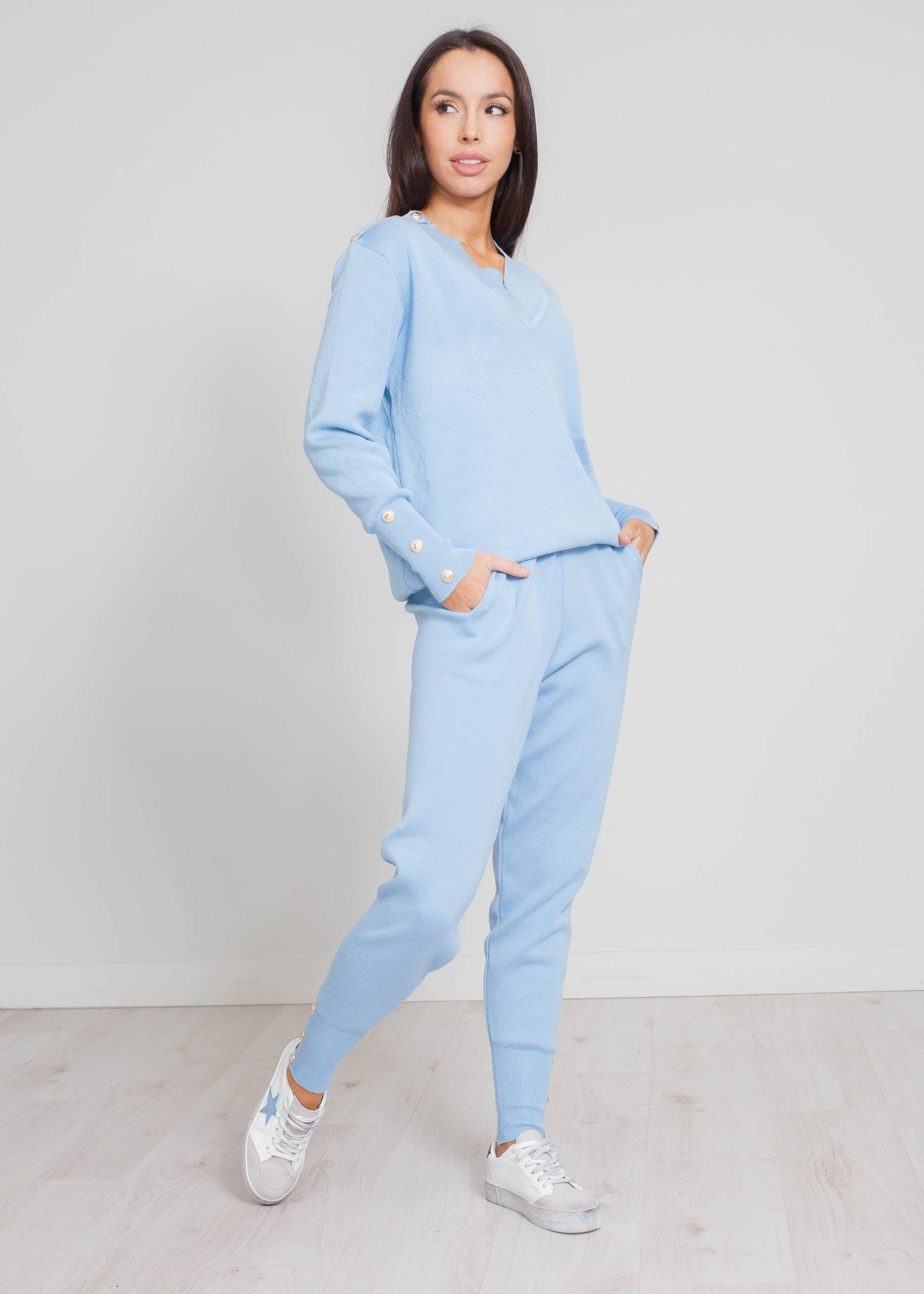 Samantha V-Neck Lounge Set In Blue - The Walk in Wardrobe