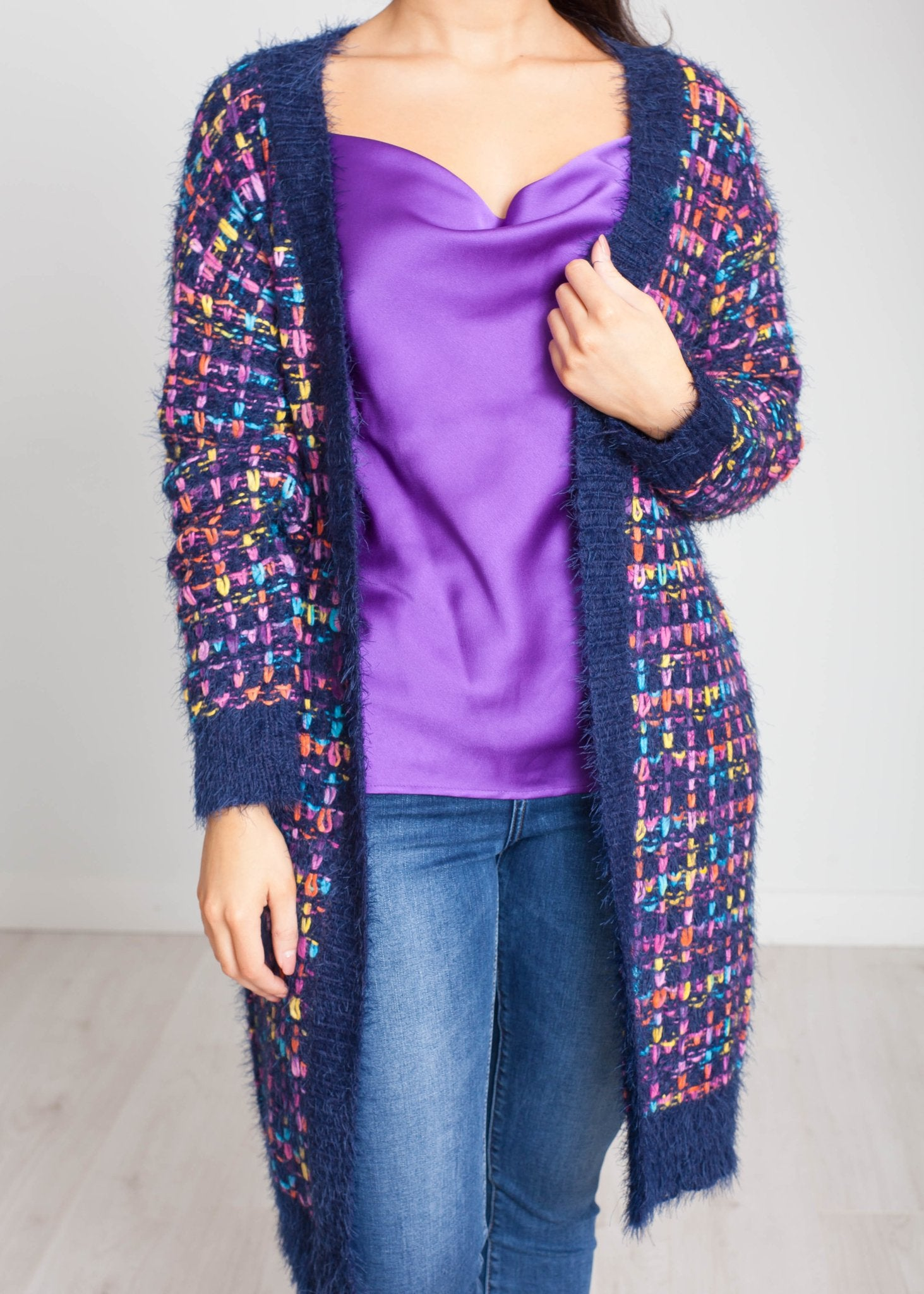 Sarah Cardigan In Blue Multi - The Walk in Wardrobe