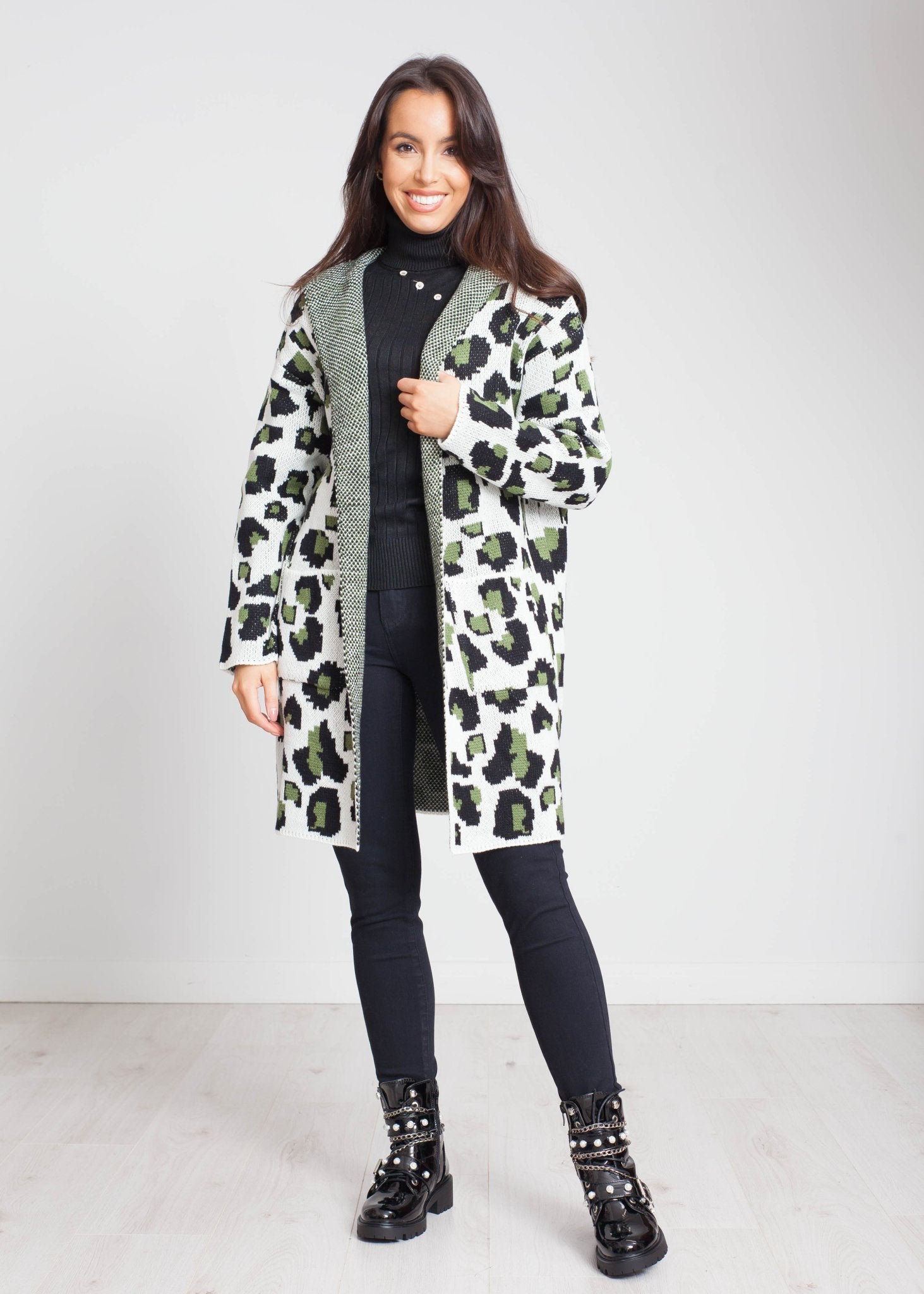 Sarah Hooded Cardigan In Khaki Mix - The Walk in Wardrobe